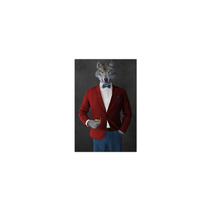 Wolf drinking whiskey wearing red and blue suit small wall art print