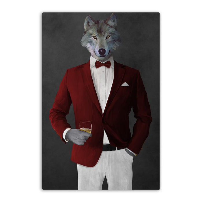 Wolf drinking whiskey wearing red and white suit canvas wall art