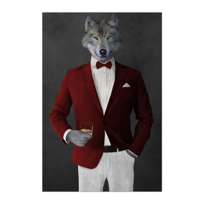 Wolf drinking whiskey wearing red and white suit large wall art print