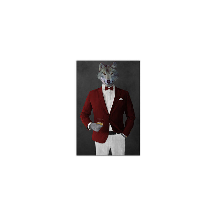 Wolf drinking whiskey wearing red and white suit small wall art print