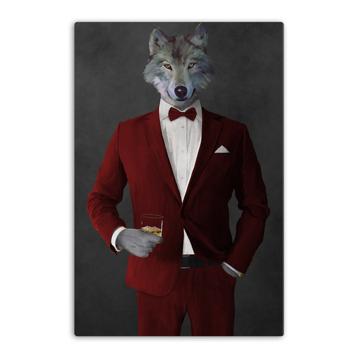 Wolf drinking whiskey wearing red suit canvas wall art