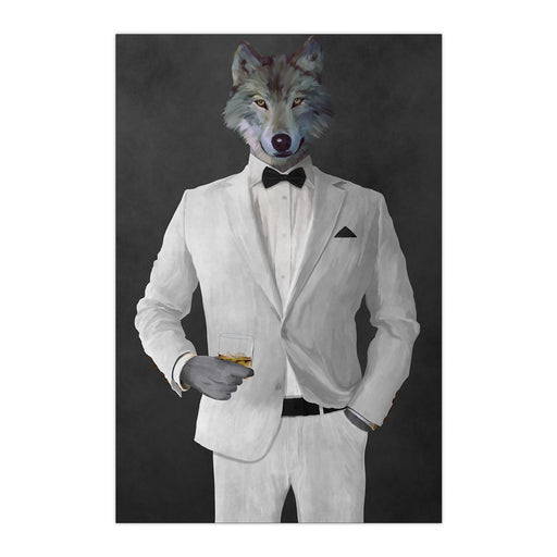 Wolf drinking whiskey wearing white suit large wall art print