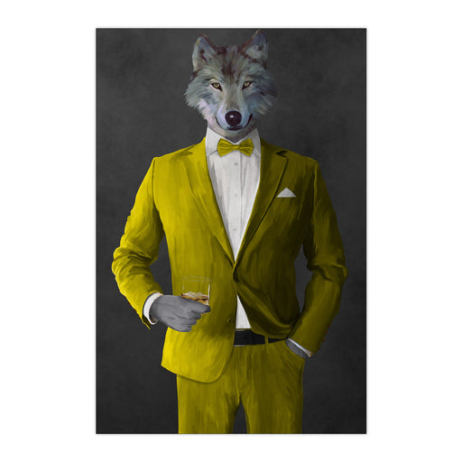 Wolf drinking whiskey wearing yellow suit large wall art print