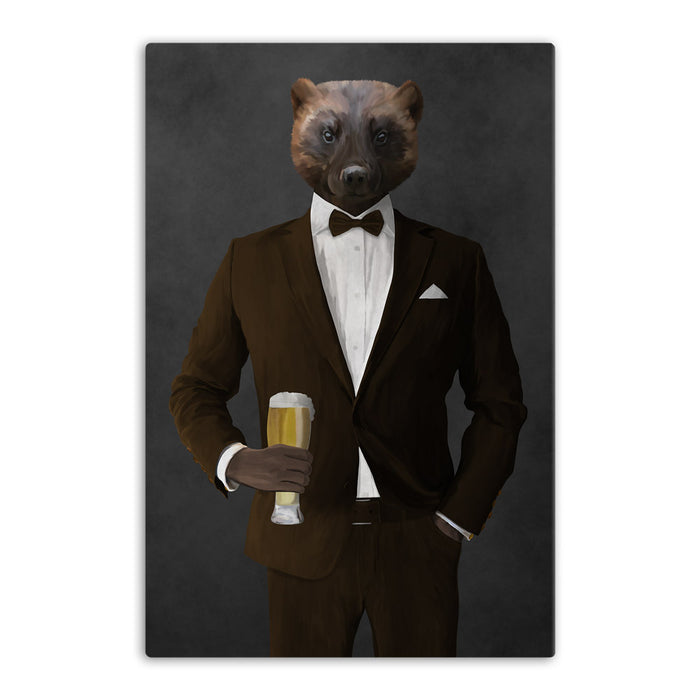 Wolverine Drinking Beer Wall Art - Brown Suit