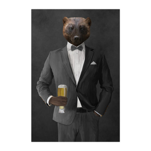 Wolverine Drinking Beer Wall Art - Gray Suit