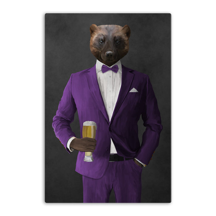 Wolverine Drinking Beer Wall Art - Purple Suit