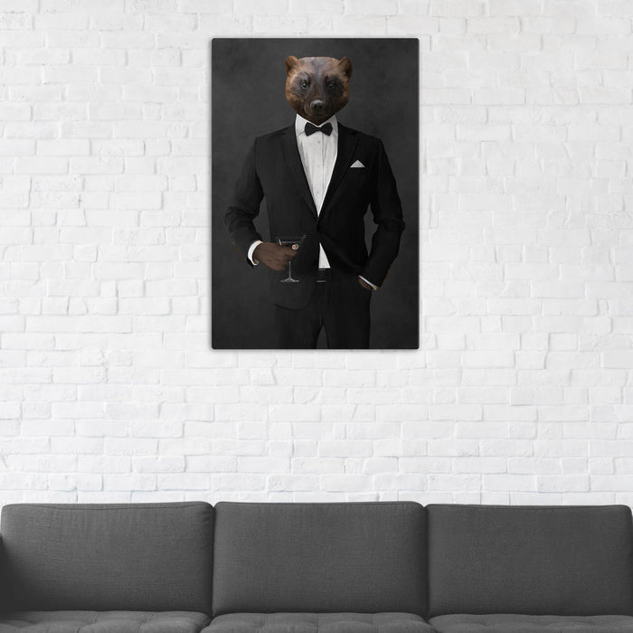 Wolverine Drinking Martini Wall Art - Black Suit