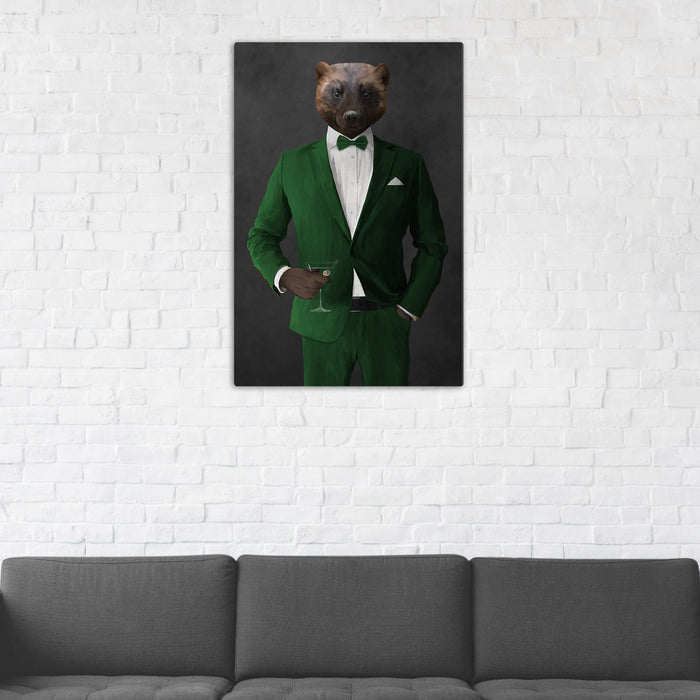 Wolverine Drinking Martini Wall Art - Green Suit