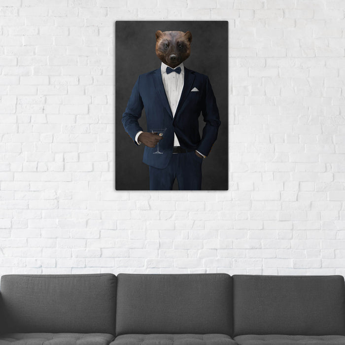 Wolverine Drinking Martini Wall Art - Navy Suit