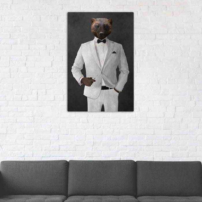 Wolverine Drinking Martini Wall Art - White Suit