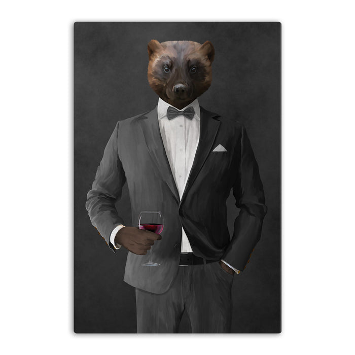 Wolverine Drinking Red Wine Wall Art - Gray Suit
