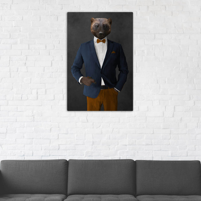 Wolverine Smoking Cigar Wall Art - Navy and Orange Suit