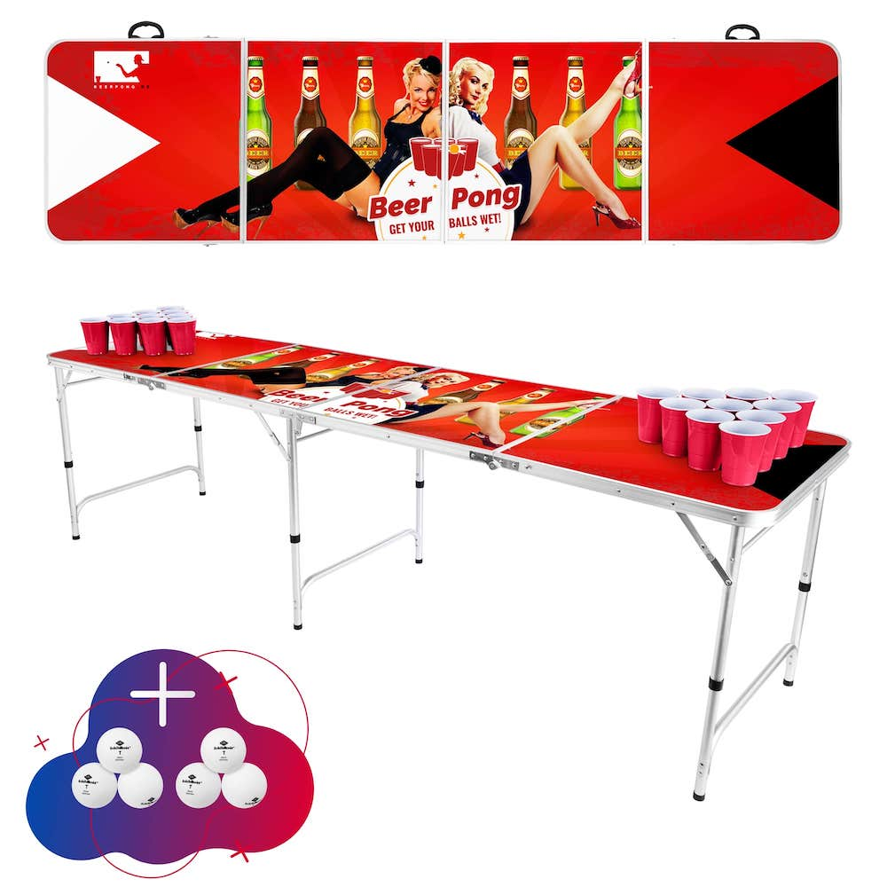 Red Pin-up Bier Pong Tisch