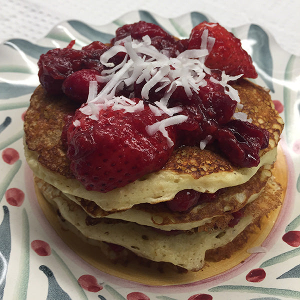 Protein Buttermilk Pancake Stack with Beet-Berry Compote