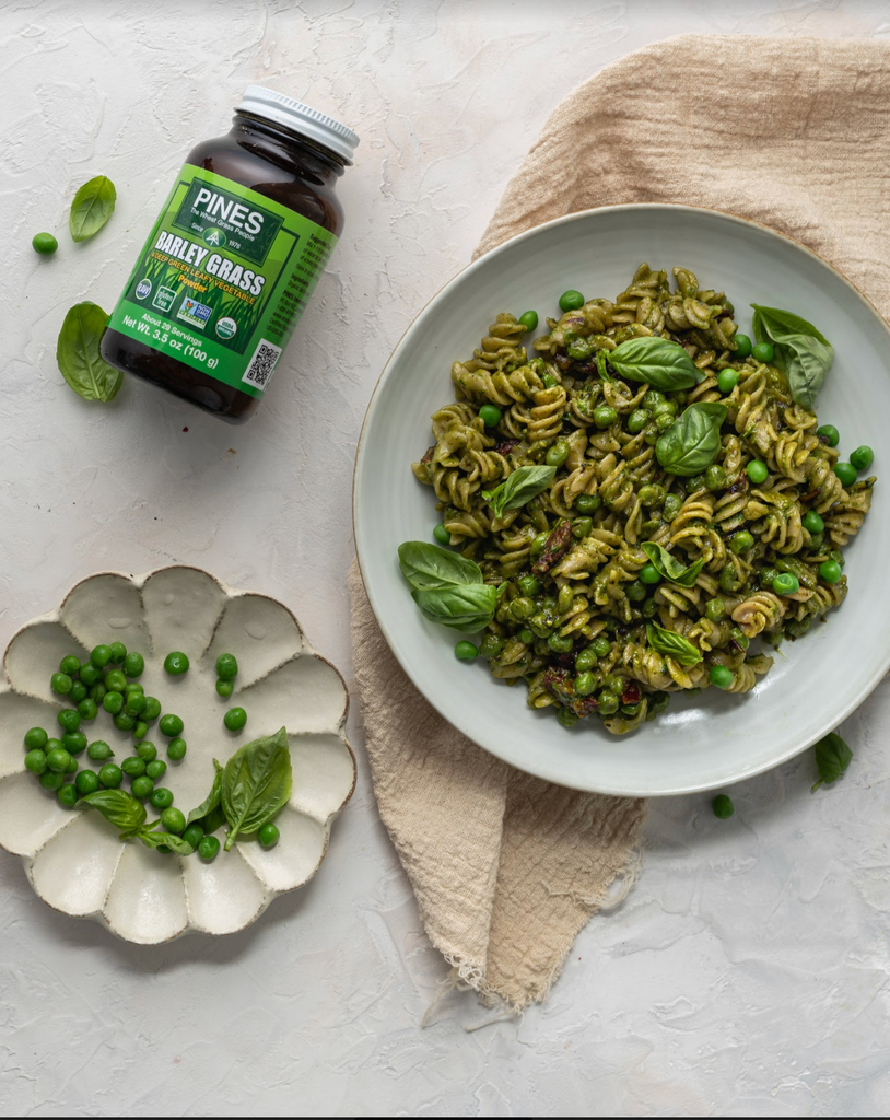 Brown Rice Pesto Pasta with Sweet Pea
