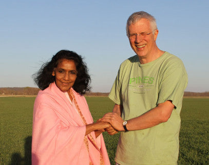 Ron with Mother Maya in a wheatgrass field ready for harvest