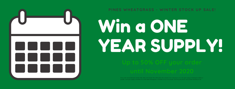 Get your greens and be entered in our annual ONE YEAR SUPPLY giveaway sweepstakes. No purchase necessary to win.
