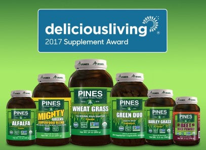 Delicious Living magazine announced Pines won the 2017 Delicious Living Supplement Award. They noted that Pines offers the highest quality, purity, efficacy & innovation of any superfood.