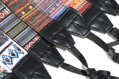Close up of Embroidered Vintage Camera Straps