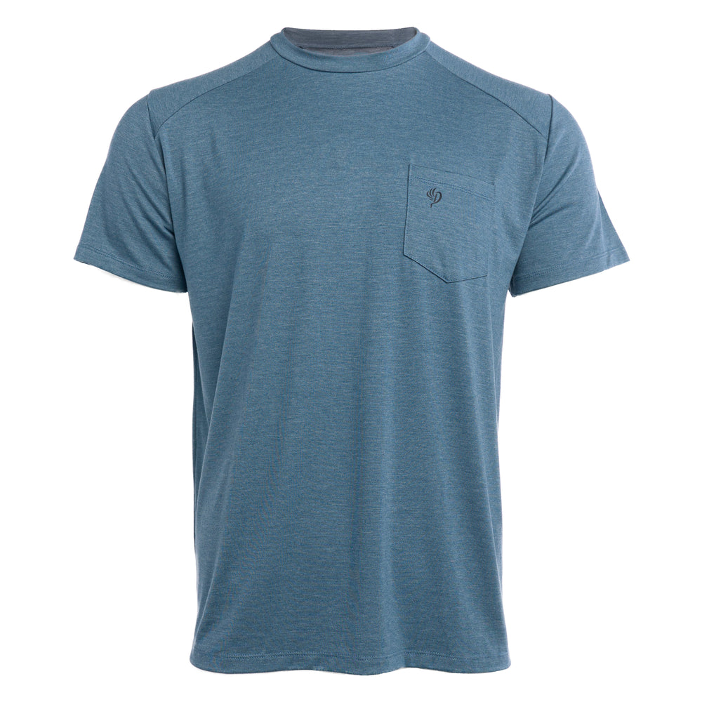 Lightweight Bamboo Pocket Tee - Heathered Cenote
