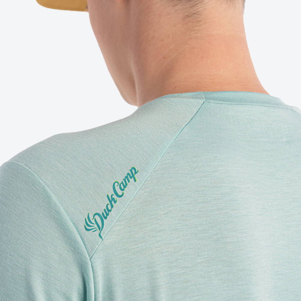 Lightweight Bamboo Crew | Heathered Surf