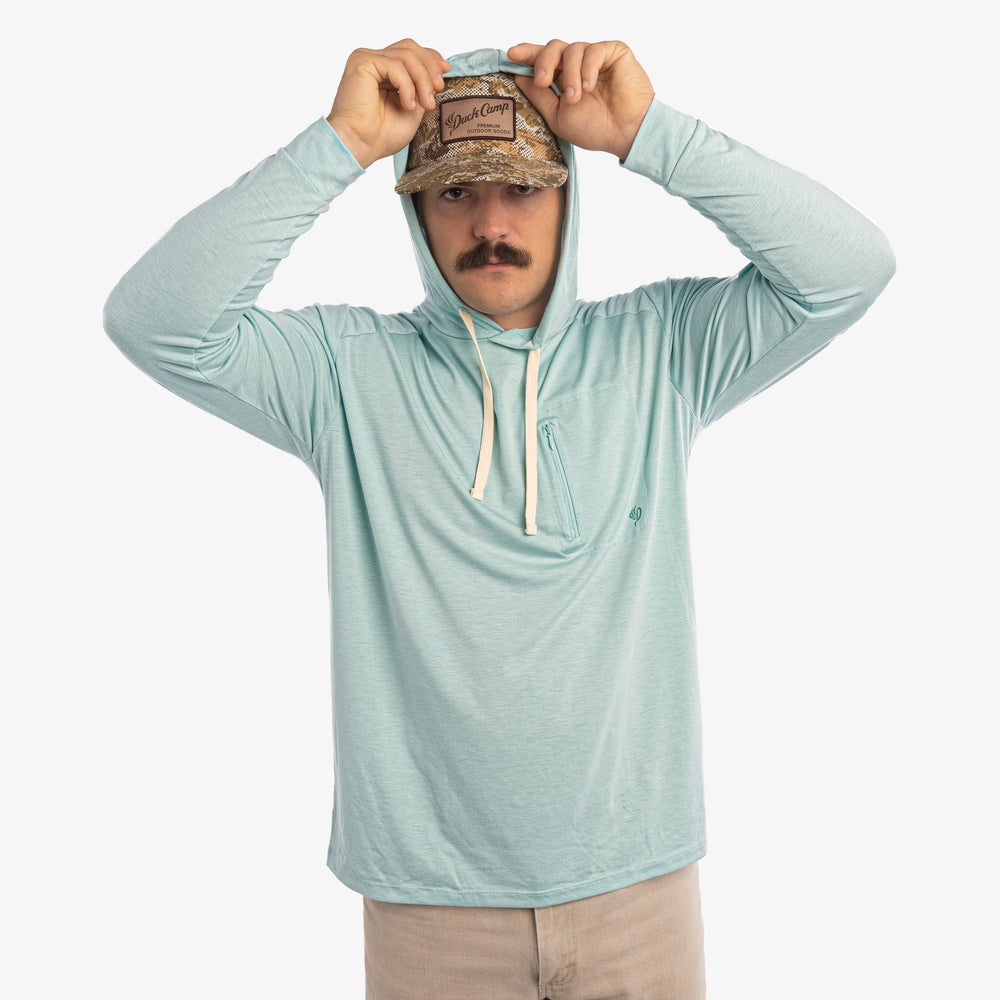 Lightweight Bamboo Hoodie - Heathered Surf