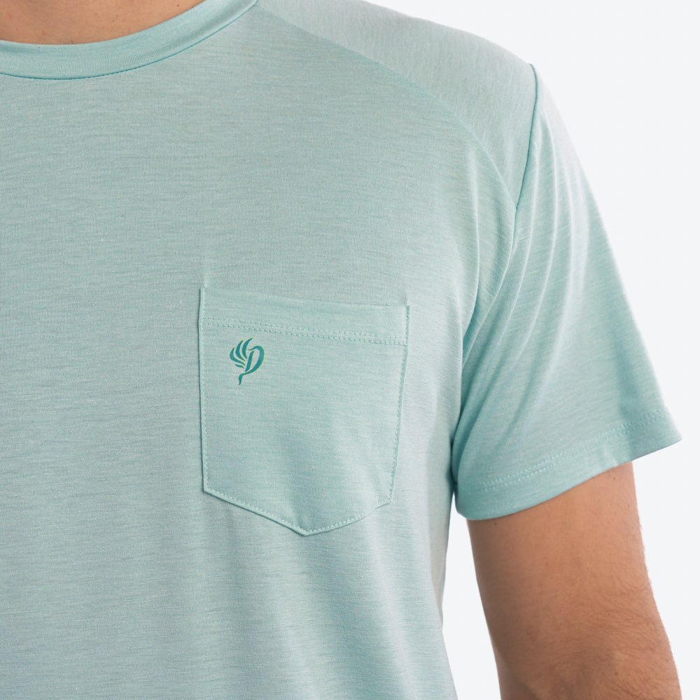 Lightweight Bamboo Pocket Tee | Heathered Surf