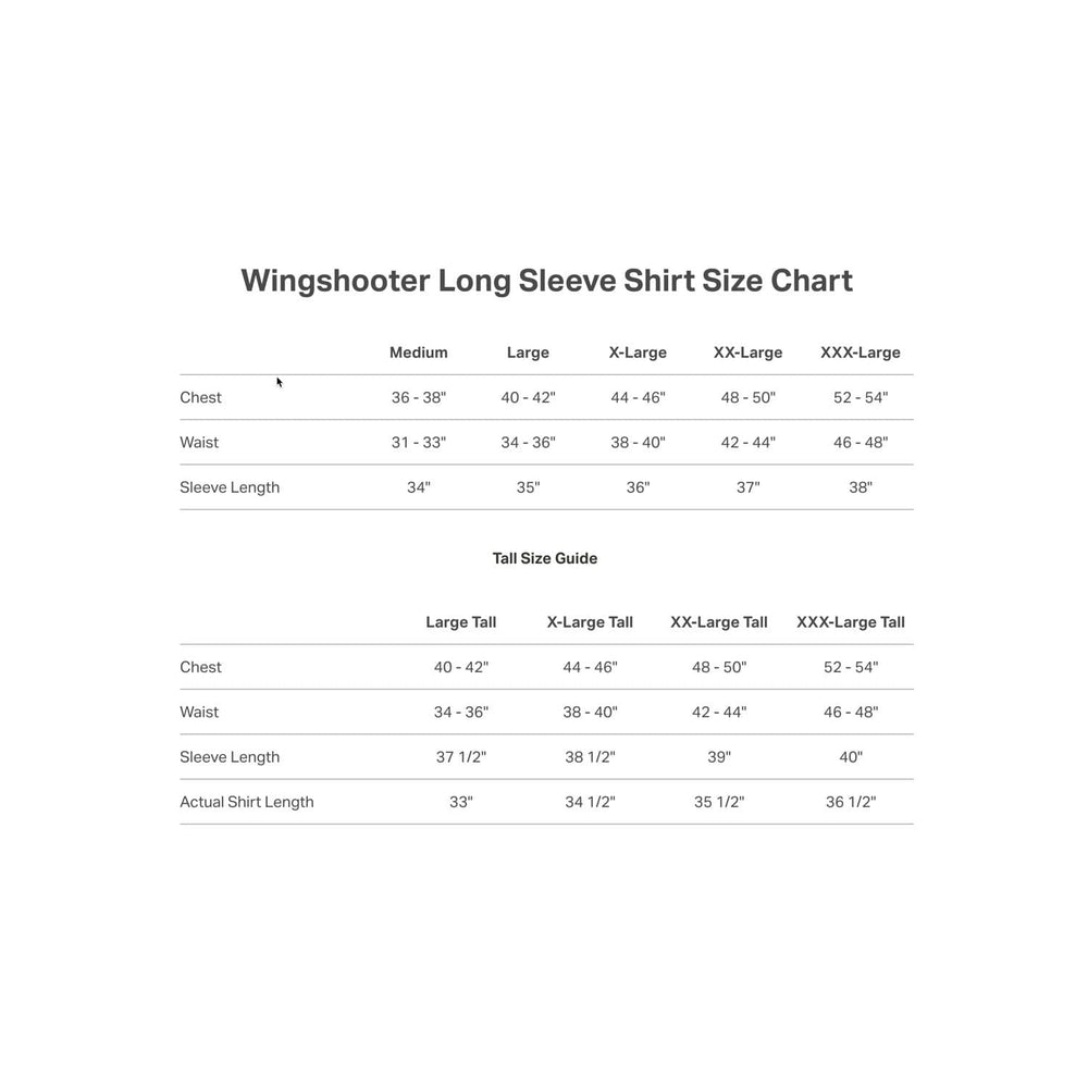 Long Sleeve Wingshooter Shirt Size Guide