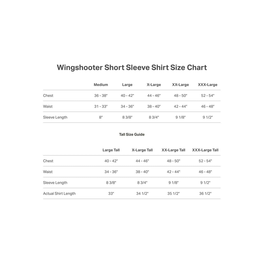 Short Sleeve Wingshooter Shirt Size Guide