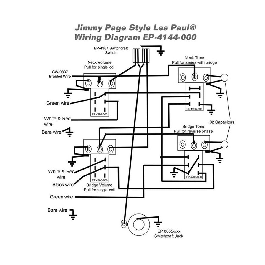 wiring kit for gibson jimmy page les paul  u2013 london guitars