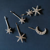 ALULA SILVER CRYSTAL MOON BOBBY PIN SET