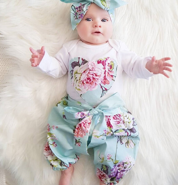 Long Sleeve Floral Pants Headbands 3pcs Set