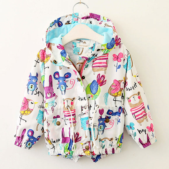 New Children Hooded Graffiti Print coat