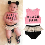 """Beach Babe"" crop top 2Pcs set"
