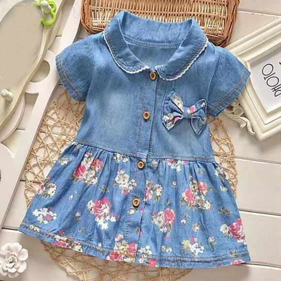 Baby Bowknot Denim Dress