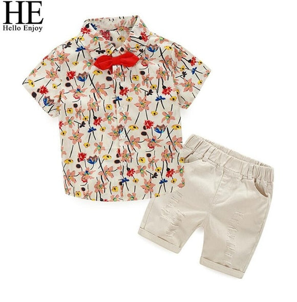 Floral Bow Tie Shirt Shorts Set