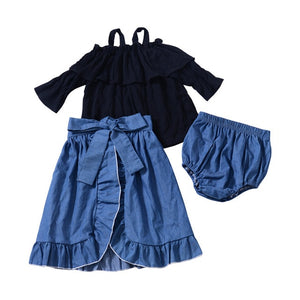 Black Top & Denim Skirt Set (12m-5)
