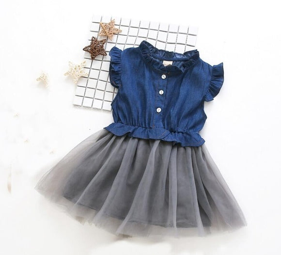 Summer Denim Mesh Dress (2T-8)