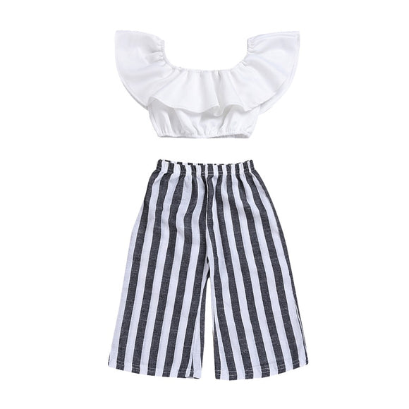 Off Shoulder Shirt & Stripe Wide Leg Pants Set (3M-3T)