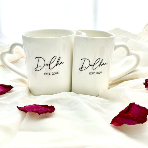 Set of Wedding / Anniversary / Couples Heart Mugs