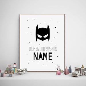Personalised Superhero Name Boys Canvas Art Print and Poster