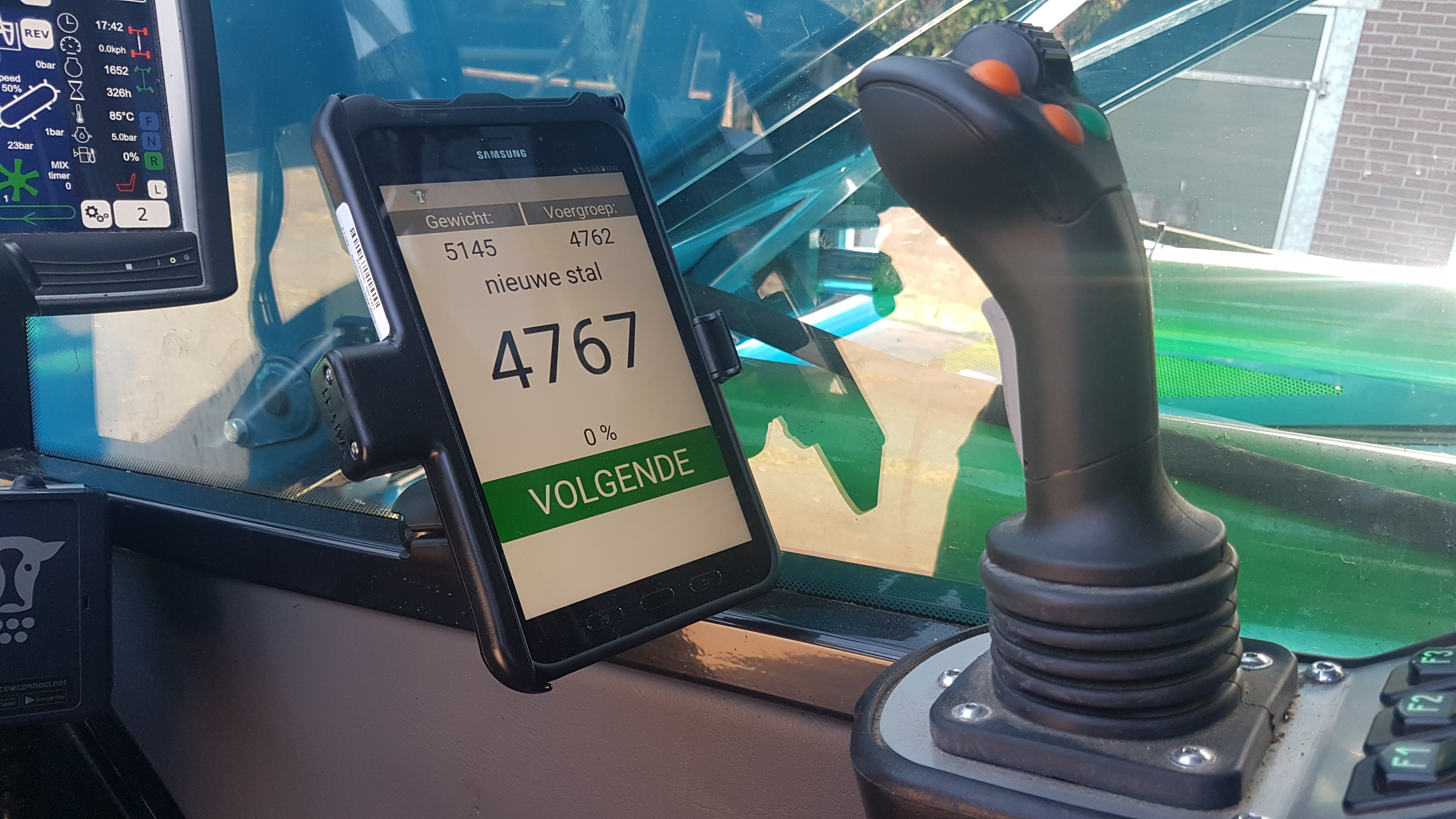 App on phone in tractor