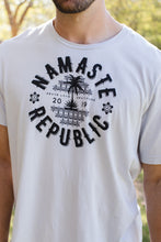 "Namaste Republic ""Super-Comfortable"" Travel Logo Tee Classic B/W"
