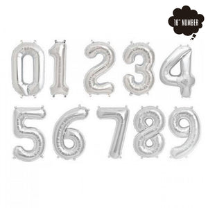 [16 Inch Number Balloon] - ( Silver Airfilled Only ) bloop-balloons.myshopify.com
