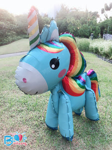 [Blue Rainbow Unicorn] - 3D Unicorn Walker Balloon (Air-Filled Only) bloop-balloons.myshopify.com