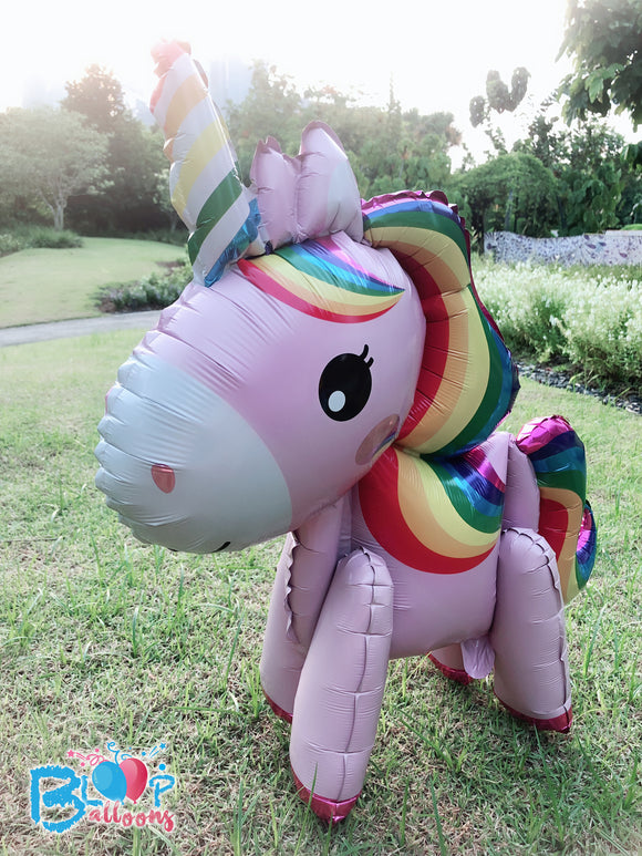 [Pink Rainbow Unicorn] - 3D Unicorn Walker Balloon (Air-Filled Only) bloop-balloons.myshopify.com