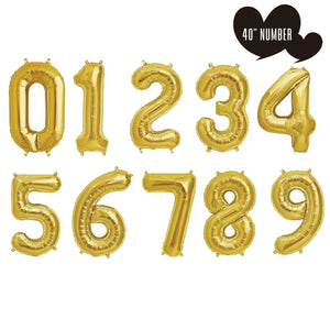 "40"" Gold Number Helium Balloons"