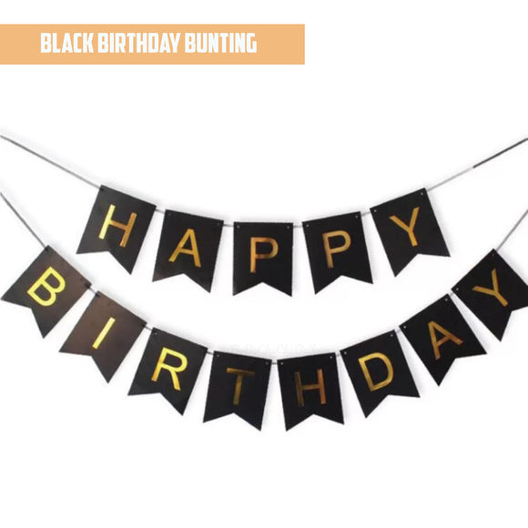 Happy Birthday Gold Pleated Black Bunting Banner bloop-balloons.myshopify.com