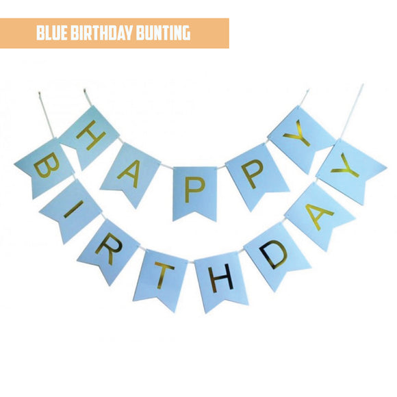 Happy Birthday Gold Pleated Blue Bunting Banner bloop-balloons.myshopify.com