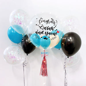 24'' personalised congratulations balloon with 2 bundle side balloon